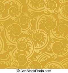 золотой, swirls, обои, бесшовный