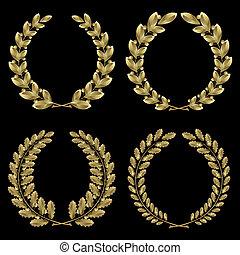 золото, лавр благородный, задавать, дуб, венок