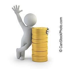 золото, люди, coins, -, маленький, 3d