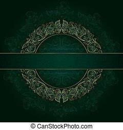 золото, марочный, рамка, patterns, зеленый, задний план, цветочный