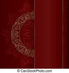 золото, марочный, patterns, задний план, цветочный, красный