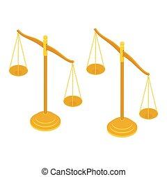 золото, масштаб, справедливость, isolated, белый, латунь, адвокат, background., знак, баланс