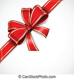 золото, подарок, лук, вектор, лента, красный