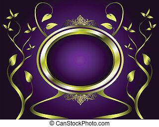 золото, пурпурный, абстрактные, вектор, дизайн, цветочный