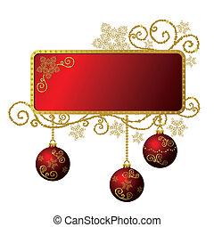 золото, &, рамка, isolated, рождество, красный