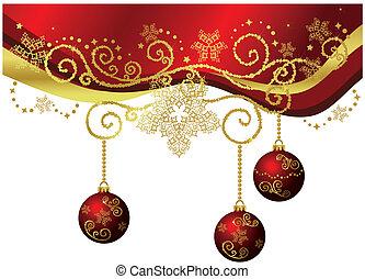 золото, &, isolated, граница, рождество, красный