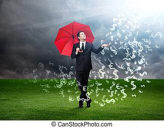 зонтик, небо, валюта, знаки, falling, красный, человек