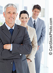 зрелый, постоянный, вертикально, команда, his, менеджер, бизнес, улыбается, фронт, молодой