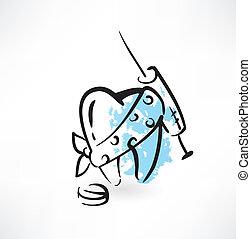 зуб, гранж, лечение, значок