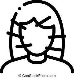 иглоукалывание, женский пол, иллюстрация, контур, вектор, значок, лицо