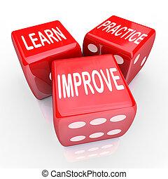 игральная кость, практика, 3, words, учить, красный, улучшать