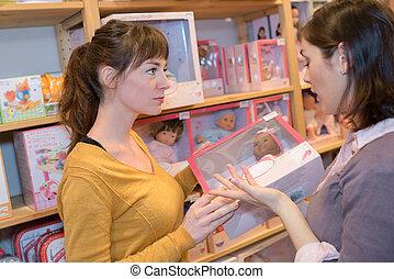 игрушка, два, магазин, женщины