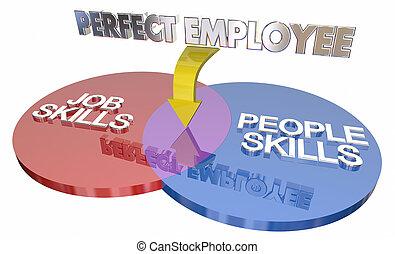 идеально, люди, навыки, работник, иллюстрация, диаграмма, работа, плюс, наемный рабочий, венна, 3d