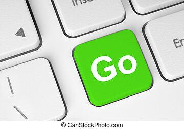 идти, кнопка, зеленый, клавиатура