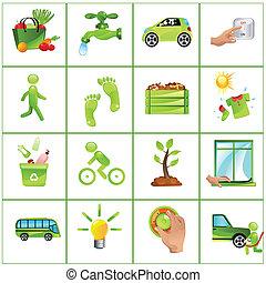 идти, концепция, зеленый, icons