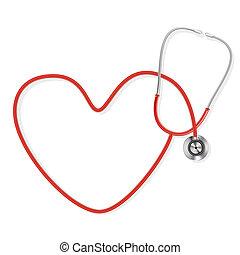 изготовление, форма, стетоскоп, сердце