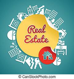 изготовленный на заказ, аренда, манипулирование, текст, файл, дом, объектив, круг, coloring., реальный, illustration., вектор, слоистый, имущество, легко, концепция, icons