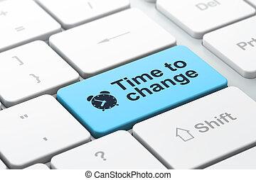изменение, слово, оказывать, часы, клавиатура, аварийная сигнализация, войти, фокус, кнопка, компьютер, выбранный, время, значок, concept:, 3d