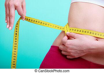 измерение, женщина, ее, поместиться, фитнес, лента, diet., измерение, девушка, талия
