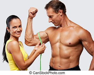 измерение, женщина, athletic's, biceps., человек