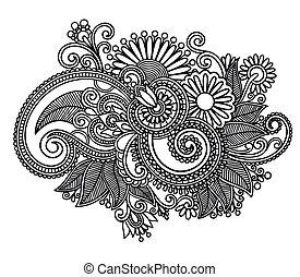 изобразительное искусство, богато украшенный, дизайн, цветок, линия