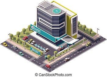 изометрический, вектор, больница