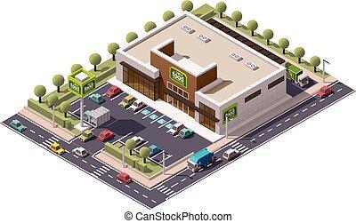 изометрический, вектор, супермаркет