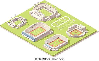 изометрический, задавать, buildings, стадион