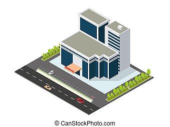 изометрический, современное, здание, больница