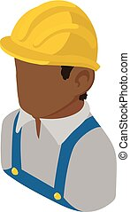 изометрический, строитель, стиль, американская, африканец, значок, инженер, 3d
