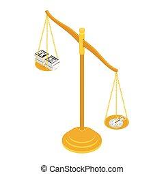 изометрический, background., белый, баланс, время, view., money., isolated, латунь, золото, концепция, масштаб