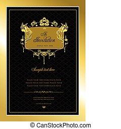 или, приглашение, card., золото, свадьба, v