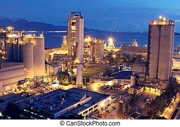 или, промышленность, тяжелый, строительство, industry., бетон, завод, растение, цемент