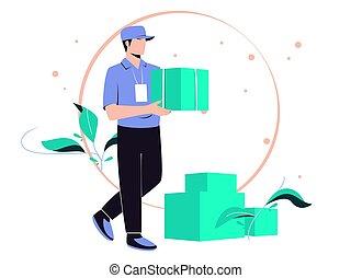 или, parcels, свободно, доставка, курьер, товар, быстро, почтовый, address., illustration., man., provides, вектор