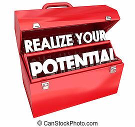 иллюстрация, ваш, умение, 3d, талант, обучение, ящик для инструментов, понимать, потенциал