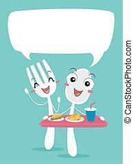 иллюстрация, говорить, заказ, питание, ложка, талисман, вилка