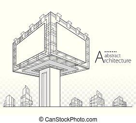 иллюстрация, здание, 3d, дизайн, абстрактные, рекламный щит, архитектурный