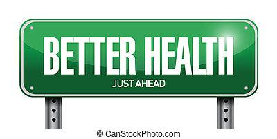 иллюстрация, знак, лучше, здоровье, дизайн, дорога