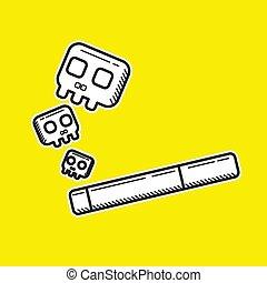иллюстрация, изобразительное искусство, style., болван, вектор, символ, графический, smoking', 'no