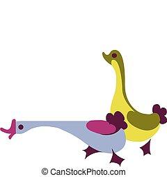 иллюстрация, красочный, gooses, два