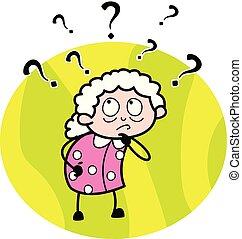 иллюстрация, смущенный, вектор, бабуся, -, старый, женщина, мультфильм