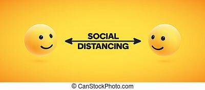 иллюстрация, социальное, distancing, вектор