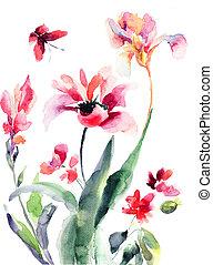 иллюстрация, цветы, акварель, stylized