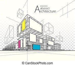 иллюстрация, 3d, здание, абстрактные, design., архитектурный