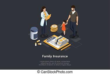 иллюстрация, paying, женщина, врач, policy., изометрический, отец, стетоскоп, страхование, чтение, жизнь, дочь, посещение, вектор, защита, concept., семья, здоровье, doctor., 3d, insurance.