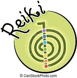 иллюстрация, reiki, значок, символ