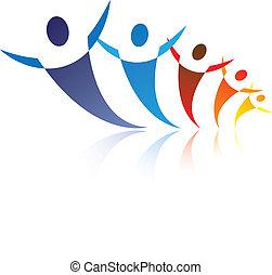 иллюстрация, represents, графический, счастливый, сеть, красочный, люди, являющийся, положительный, сообщество, вместе, социальное, friends, или, symbols/icons