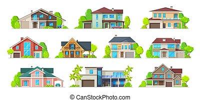 имущество, здание, реальный, главная, icons, дом, коттедж