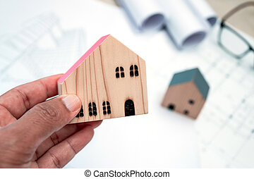 имущество, architect's, -, строительство, архитектура, реальный, имущество, здание, концепция, модель, стол письменный, дом, крошечный