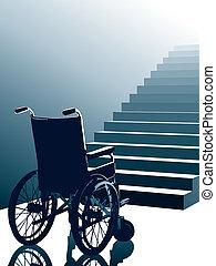 инвалидная коляска, вектор, лестница
